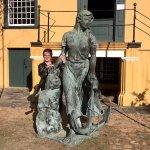 Jean Ann with statue.