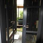 Through bathroom to outdoor pavilion