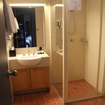 Bathroom a good size with good temperature and pressure and no flooding under the shower door.
