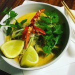 Laksa with tofu and Asian vegetables
