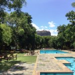 the spectacular view of the Sigiriya rock from the hotel