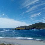 The most beautiful beach on Beginish, Valentia Harbour, with Blaskets in background.