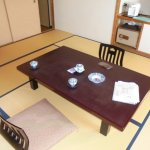 Japanese style dinning table and western style back support chairs