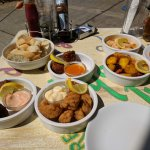 Conch fritters, salt and pepper squid, crab croqueta, cod in saffron, garlic prawns
