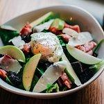 Black pudding, bacon and quails egg salad