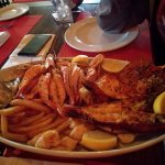 Massive seafood platter with 2 lobsters, calamari, muscles, prawns and chips R500