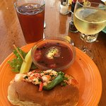 Lobster roll and gazpacho