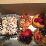 Mini fruit tarts and German Chocolate Brownie