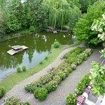 Blick vom Balkon zum Teich