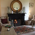 Prince Hall Hotel sitting room - log fire - July!