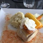 Main Course - Roast chicken with drunken apricots and Brie mousse