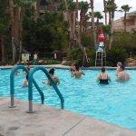 Morning water aerobics class.