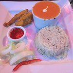 Chicken Pakora & Chicken Chazni + rice