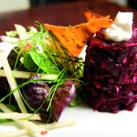 roast shredded beetroot with sweet potato tuille
