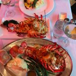 Bottom is a 2lb lobster stuffed with seafood. MIddle is lobster mac and cheese and top is filet.