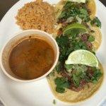 brisket tacos with boracho beans