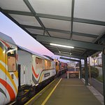 Long shot of the train from Christchurch to Greymouth via Arthurs Pass.