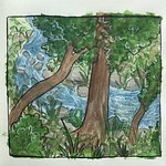 Watercolor of my daughter of the view from our back porch. Oak Creek.