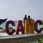 Cancun sign at our hotel...There is one along the street that stays crowded
