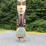 One of the many totem poles in the park.
