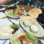 Chicken kabob, feta cheese, the best pita bread ever and tzatziki sauce.