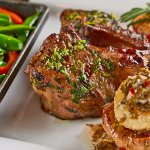 Double rack lamb chops, with roasted cipollini onions & chimichurri sauce