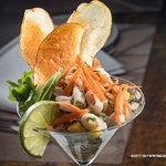 Maine Seafood Salad: Shrimp, Squid, Snapper, Mussels, Avocado, Mango, Lime Citrus Dressing