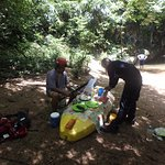 lunch on a kayak streamside!