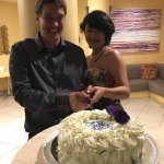 """Bride and groom """" Symbolic cutting of the cake"""""""