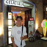 My son at Valentino's gelato in Rome
