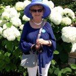 My Wife, Elaine, With Walking Poles In Hand (Hat Bought in the Gift Shop)