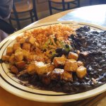 black beans, tofu and rice