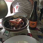 The meal is served in a traditional pot. Portions are generous. The wine was also perfect