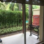Private outside patio with day bed obscured