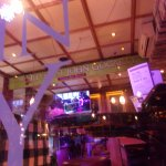 everywhere in the bar and restaurant the bands are visible on screen and with full audio