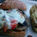 Eggplant-pepper-portabello sandwich / burger.