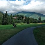 view of the peaks from Whistler golf course