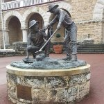The statue at the Perth Mint commemorating the first discovery of gold.