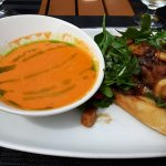 Tomato Basil Soup with a Steak Sandwich for Lunch