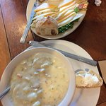 Clam chowder w/cheese platter