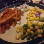 corn and peas salad,honey chilli potato