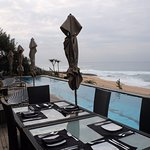 breakfast area and pool view....