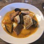 Cornish fish stew with saffron potatoes and garlic mayonnaise