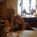 my gorgeous wife in restaurant awaiting starters