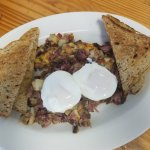 Homemade corned beef hash and poached eggs