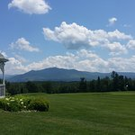 golf course & gazebo with White Mountains in the distance