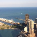 The view of Navy Pier and Lake Michigan from the 360 Chicago Observation Deck
