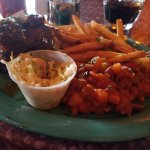 BBQ ribs with coleslaw and fries