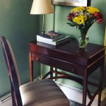 Cute desk in Zinfandel Room w/ fresh flowers.
