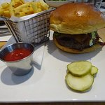 Maple Bacon Burger with everything with truffle fries was cooked nicely and tasted great